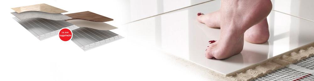 14 mm byggehøjde fliser gulvvarme