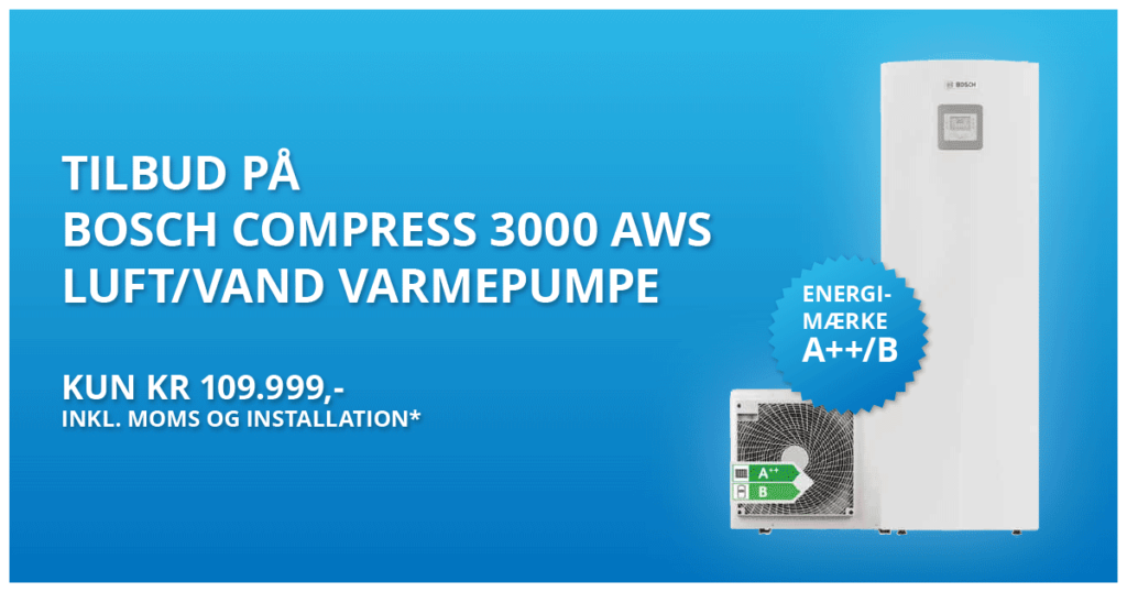bosch compress 3000 aws varmepumpe 109999kr installeret