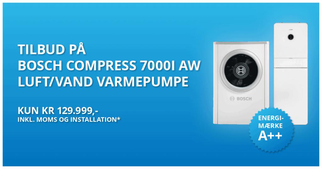 tilbud på bosch compress 7001 AW luft vand varmepumpe 129.999kr