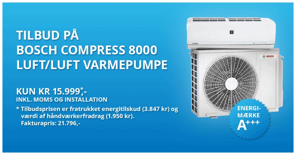 bosch compress 8000 varmepumpe luft-luft tilbud 15999kr