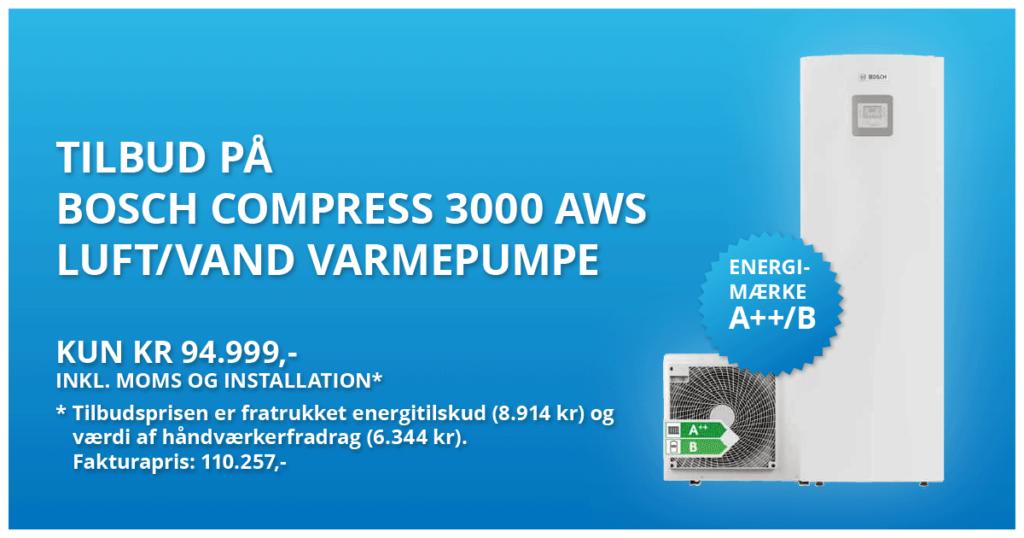 bosch compress 3000 aws varmepumpe 94999kr installeret